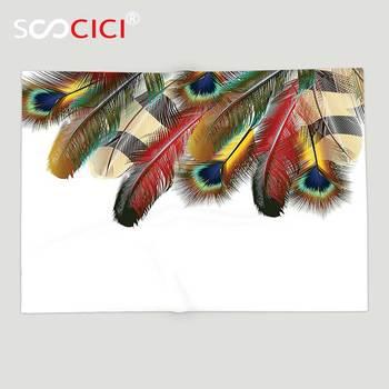 Custom Soft Fleece Throw Blanket Feather House Decor Mystical Esoteric Peacock Feathers Deep Universal Link Icons Boho Theme