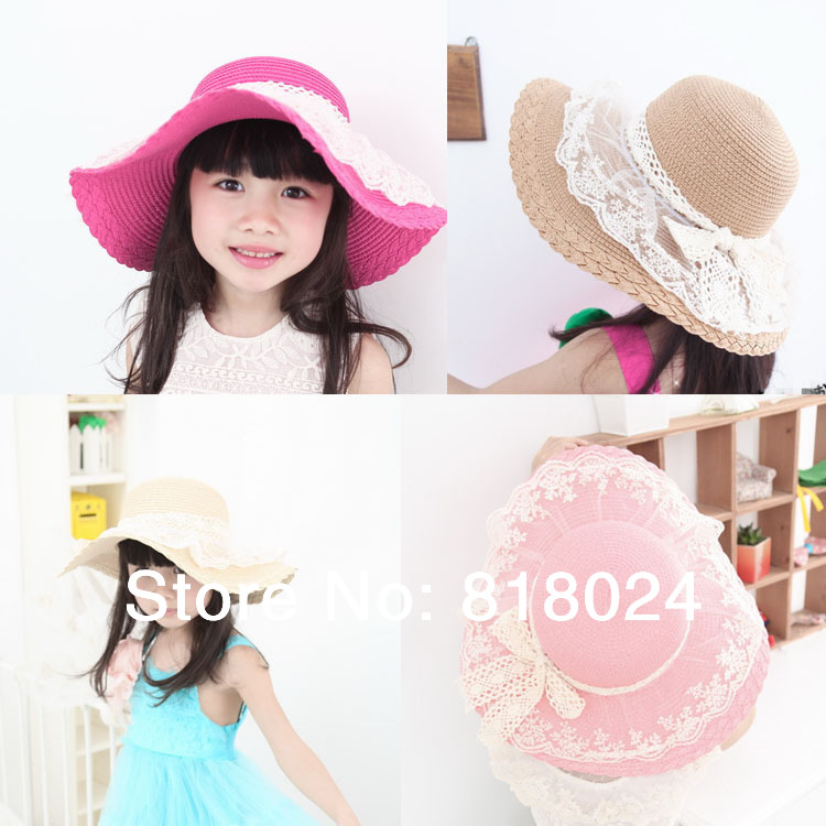 62f2d2595 US $30.98 12% OFF|5pcs/lot Lace Floral Brim Baby Girl Straw Sun Hats with  Bowknot Sunhats for Kid Wide Flooppy Brim Beach hat Children summer caps-in  ...