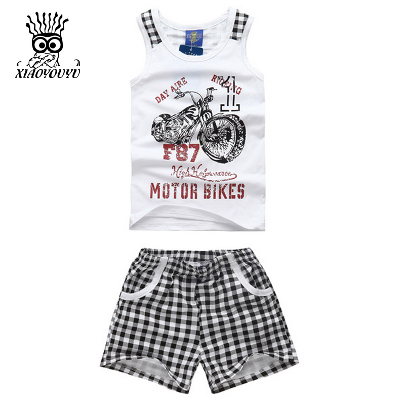 XIAOYOUYU Summer New Boys Sport Suit Fashion Motor Bike Pattern Children Clothing Set Vest + Grid Shorts Tracksuit Size 100-140 fashion handpainted palm sea sailing pattern hot summer jazz hat for boys