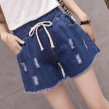 Summer Denim Shorts Plus Size 7XL Women Elastic Waist Loose Thin Hole Denim Shorts 2019 Fashion Slim Ladies Denim Shorts WIN869 фото