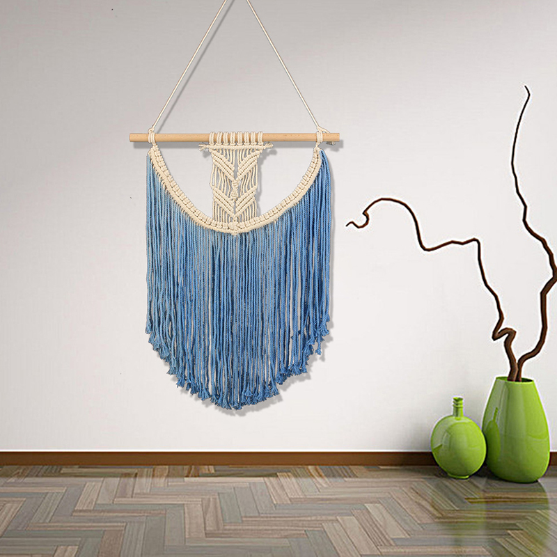 Bohemian Cotton Woven Wall Hanging Tapestry Macrame Art Handmade Tassel Blue Color Tapestry Apartment Dorm Home Wall Decoration(China)