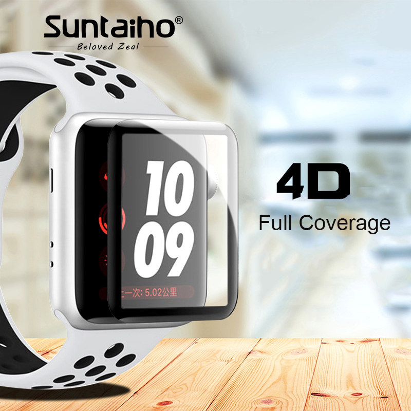 Suntaiho 4D Full Cover Soft Edge Full gel glass film For i Watch Series 4 Screen Protector Film for Apple Watch 3 2 1 40 44 mm