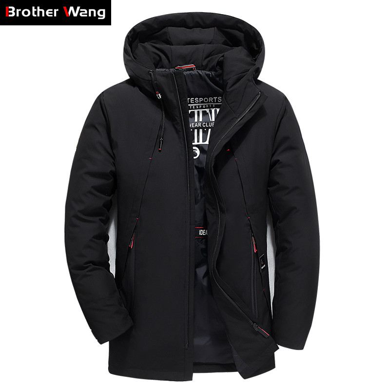 2019 Winter New Men's Thick   Down   Jacket Clothing Fashion Casual High Quality Hooded Duck   Down   Parka   Coat   Male Brand Clothes