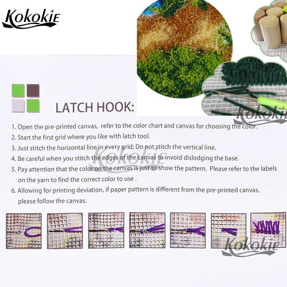 3D Latch Hook Kit Karpet Permadani Kit Kupu-kupu Dicetak Kanvas Aksesoris Foamiran untuk Kerajinan Crochet Tapis Jarum untuk Karpet