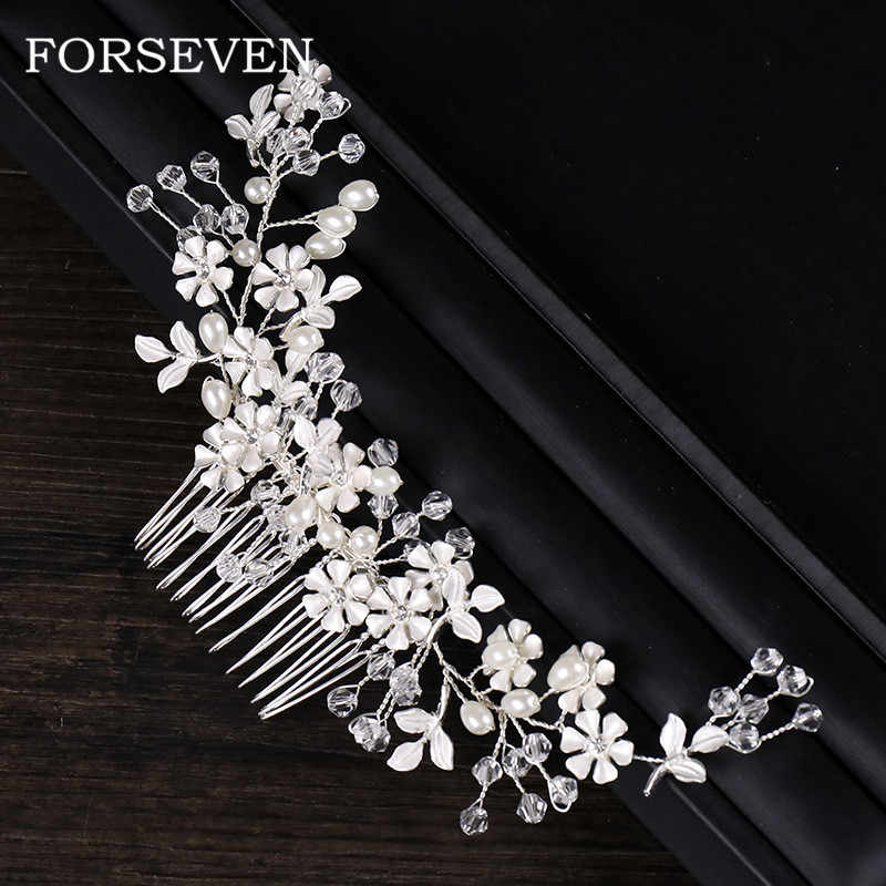 Silver Flower Pearl Bridal Hair Comb Head Jewelry Accessories Trendy Flower Hairbands Bride Headdress Hair Combs