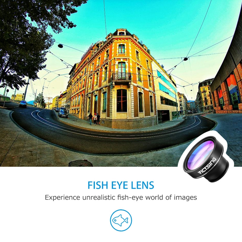 VicTsing 3 In 1 Universal Clip 180 Degree Camera Phone Lens Fisheye Lens+ 10X Macro+ 0.65X Wide Angle Lens Kit for Smartphones 5
