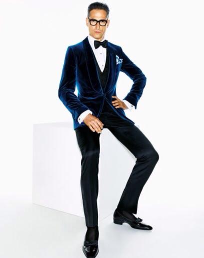 2017 New Tailor Made Navy Blue Velvet Blazer Slim Fit Groom Tuxedos