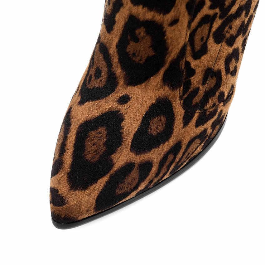 QUTAA 2020 г. Женские сапоги на высоком каблуке обувь до середины голени пикантные женские сапоги из эластичной замши с острым носком, Осень-зима размеры 34-43