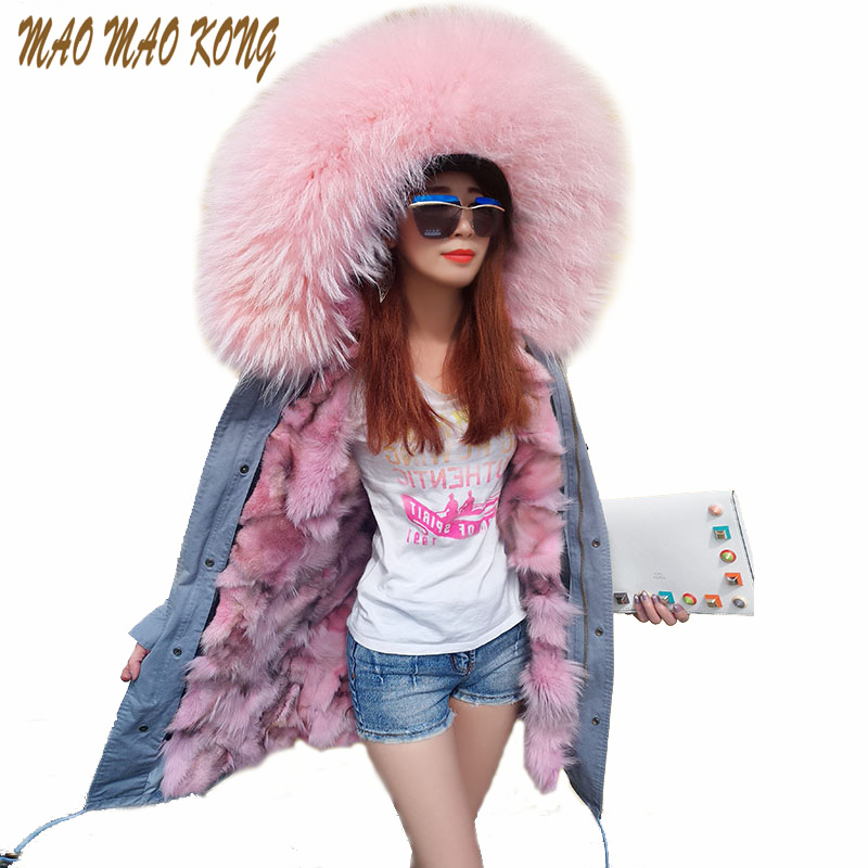 2017 New Fashion Real Fur Parka for women's Army Green Large Fur Collar Hooded Long Coat Outwear Fox Fur Lining Winter Jacket new 2015 autumn winter outdoors medium long fleece jacket fur hooded army green parka men thickening coat 10