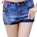 Mulheres Skorts Shorts Jeans Saia de Verão 2016 Novo Estilo Coreano Curtas Jeans Com Zíper Sexy Slim Mulher Ocasional Curto Femme