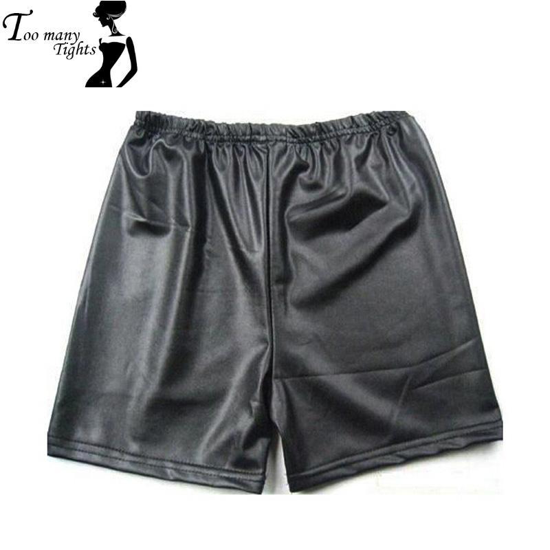 E22 Faux Leather Women Shorts 2015 High Waist Elastic