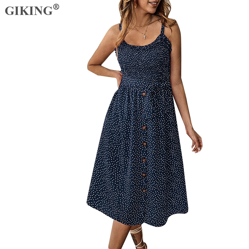 GIKING Women 2019 Summer Dress Wave Dot Print Spaghetti Strap Buttons Boho Backless Party Dress Women's Holiday Bench Vestidos