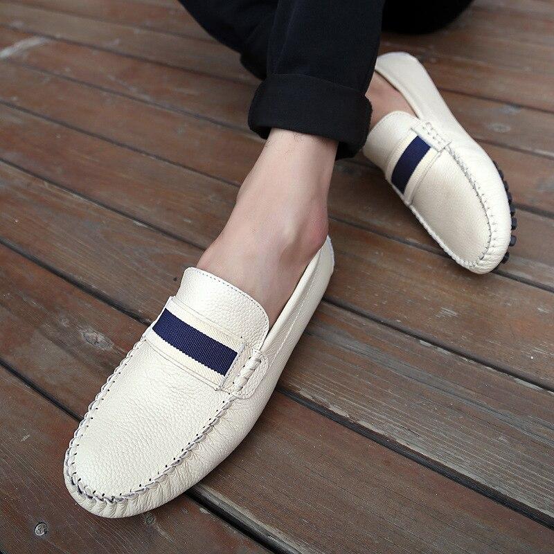 À Casual Mens Angleterre Taille Automne Chaussures Beige bleu Mâle Glissement Sur Des Rond Fashion Grande Mocassins Split En Appartements Bout Cuir New Sneakers Bande noir wxr5rft7