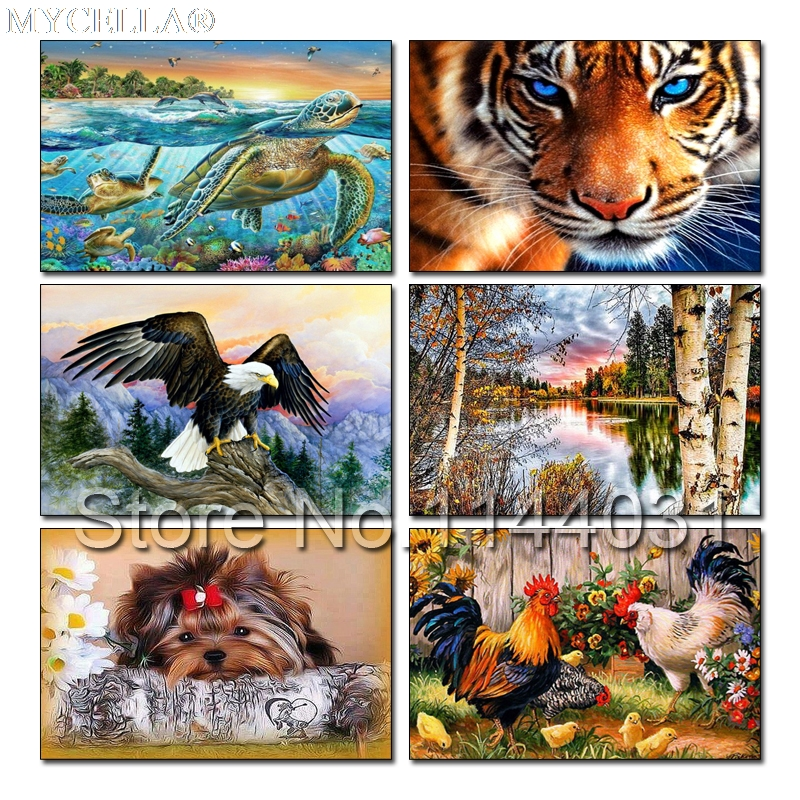 Hand Voller Landschaft Kreuzstich Tier Diy Diamant Malerei Kits Kreuz Stich Diamant Stickerei Turtles Tiger