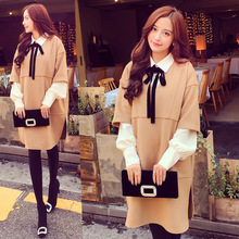 good quality winter fashionable elegant loose split V collar woolen dress + + + butterfly collar elegant chiffon shirt