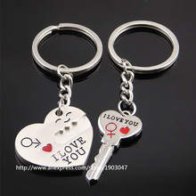 "Very Nice Creative Heart English ""i Love You"" Couple Keychain Toys with Action Figure Key Ring Pendant Toys Gifts"