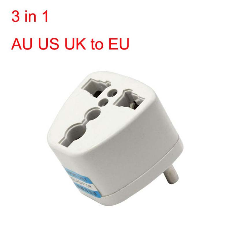 2PCS Universal 3 in 1 AU US UK to EU AC Power Plug Travel Adapter Outlet Converter Socket Charger Converte