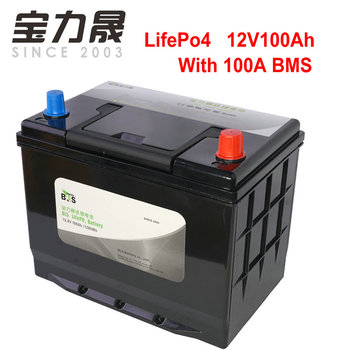 12V100AH LiFePo4  Battery  12.8V100ah Lithium Iron Phosphate with 4S 100A BMS for Fishing Boat RV Yacht Party  Power Solar UPS