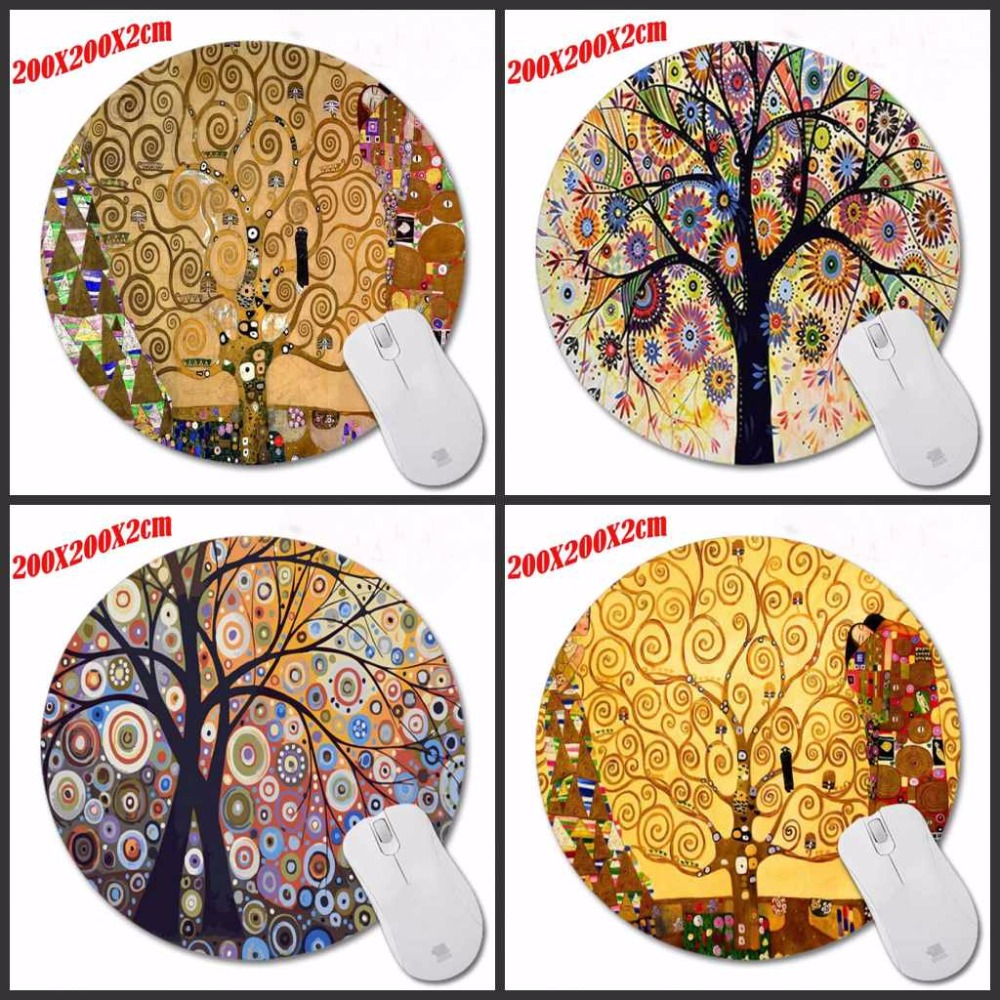 Colorful Beautiful Tree Background Anti-Slip Cute Mouse Pad Round Soft for computers Mousepad comfort pad Mouse Mat for Optal
