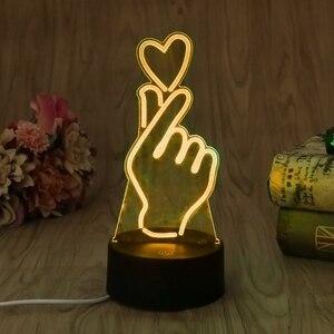 Image 4 - ヤムusbノベルティ7色ロマンチック変更指ハートledナイトライト3dデスクテーブルランプ魔法の夜の光