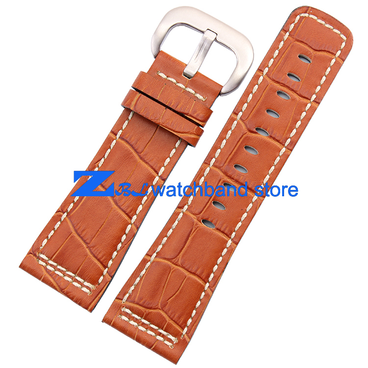 28mm Genuine leather strap The high quality Watchband Brown with white stitched for SevenFriday Men Watch