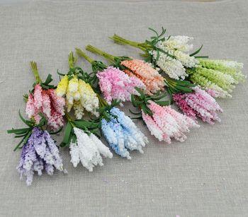 Nowy mini darmowa wysyłka 10 sztuk DIY materiał wieniec sztuczne kwiaty PE lawenda ślubna dekoracja z kwiatów panna młoda kwiat na nadgarstek tanie i dobre opinie Ślub
