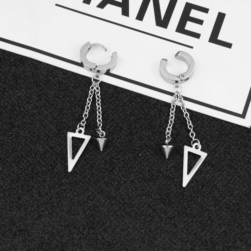 KPOP DNA Korean Star V 1PCS Boys Album triangle Stud Earrings For Women Brincos silver color Men Earring Acessorios