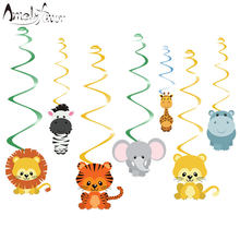 Safari Animal Jungle Ceiling Hanging Swirl Decorations Boy Baby Shower Cutout Festive Party Supplies DIY Decorations Event Party(China)