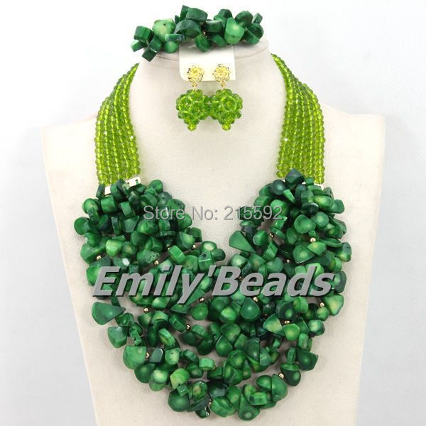 Handmade Olive Lime Green Women Necklaces Costume Jewellry Nigerian Wedding African Beads Jewelry Set Free Shipping CJ359