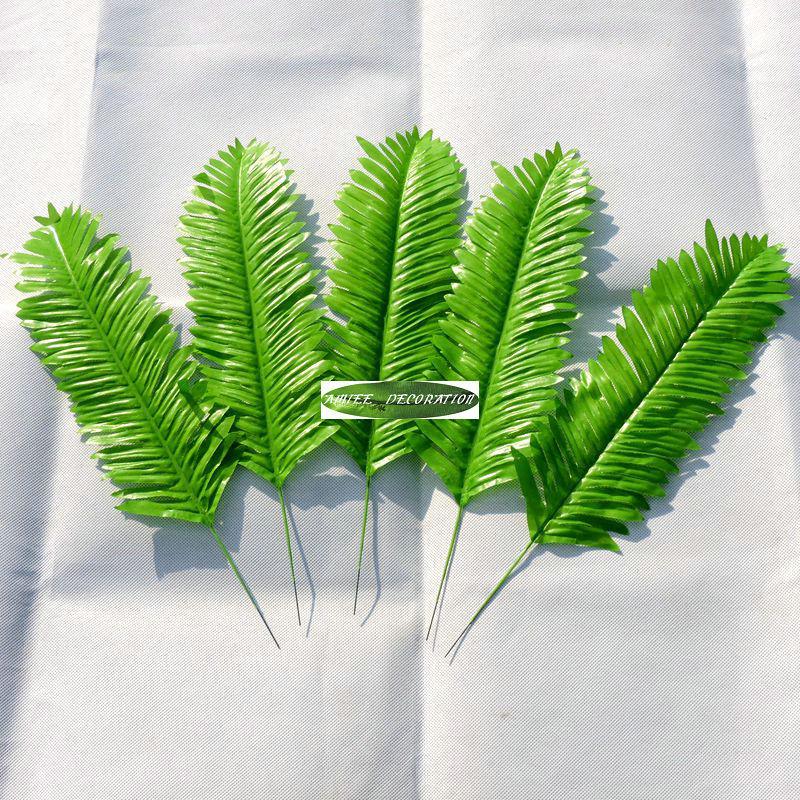Christmas 40cm 25pcs Artificial Sago Palm Fake Fern Leaf Plant Tree Branch Wedding Home Office Furniture Decor Green f12