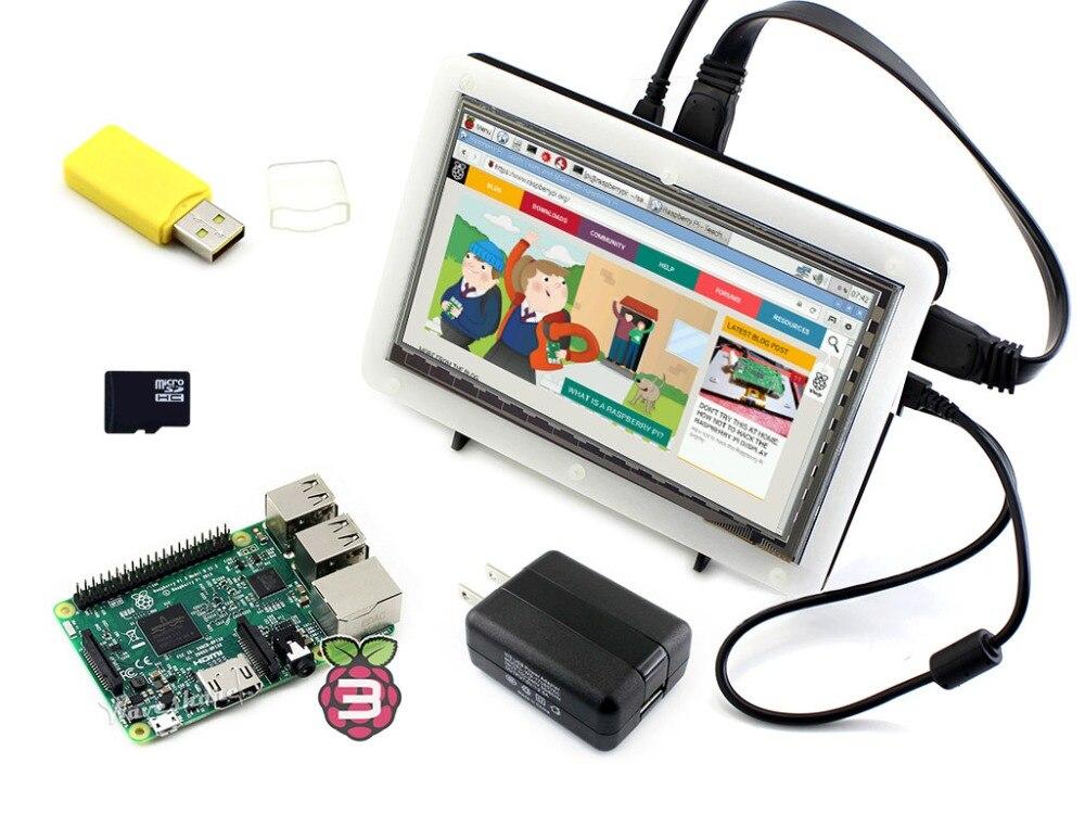 RPi3 B посылка F, включая мини ПК Raspberry Pi 3 Модель B 7 дюймов HDMI ЖК дисплей (C) биколор случае 16 ГБ Micro SD карты Micro SDCard читатель