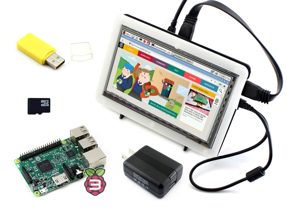 RPi3 B Package F including mini PC Raspberry Pi 3 Model B 7inch HDMI LCD (C) Bicolor case 16GB Micro SD card Micro SDCard Reader