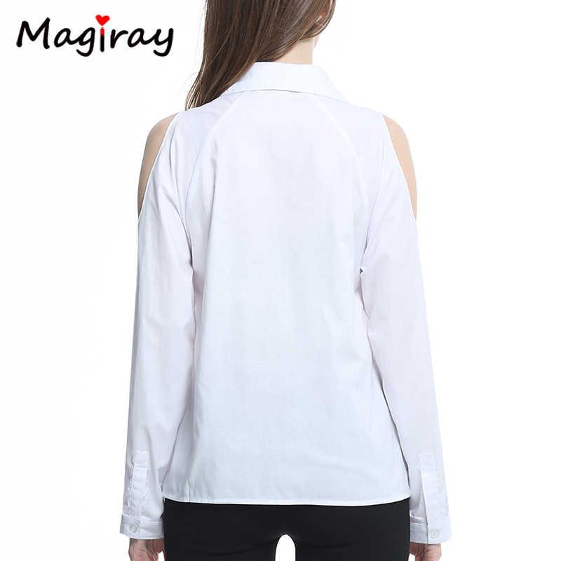 Magiray, рубашка с длинным рукавом и открытыми плечами, Женская белая блуза на пуговицах, черная Повседневная 2019, свободные летние женские топы