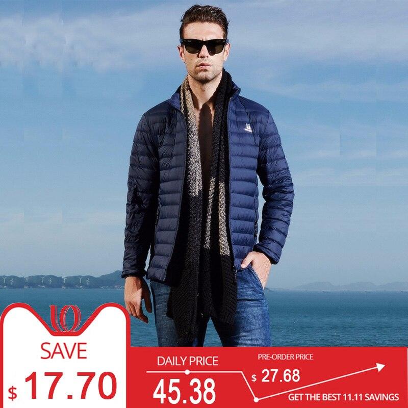 White Goose Flak Jacket Ultralight Stand Collar Warm   Down     Coat   Male Ultra Light Puffer Mens   Down   Jackets Winter Brand Fashion