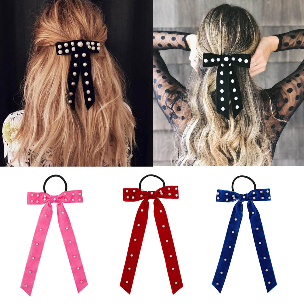 Women Pearl Velvet Scrunchies For Girls Ponytail Holder Gum For Hair Bands Rubber Elastic Headband Bowknot Hair Accessories