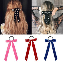 Women Pearl Velvet Scrunchies for Girls Ponytail Holder Gum Hair Bands Rubber Elastic Headband Bowknot Accessories
