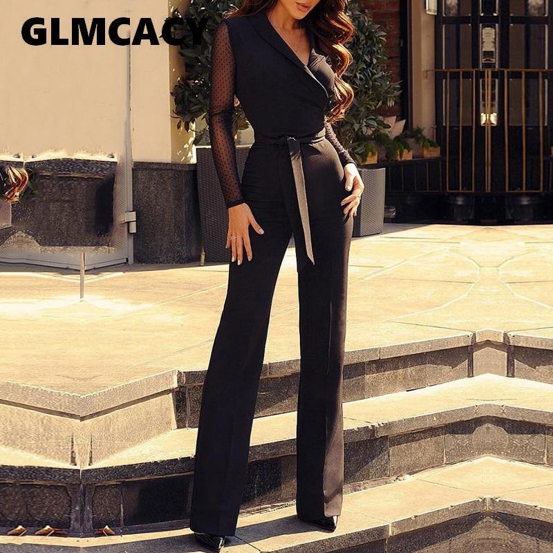 Women Black Mesh   Jumpsuit   V-Neck Long Sleeve Summer   Jumpsuit   2019 Office Work Wear Elegant Wide Leg   Jumpsuit