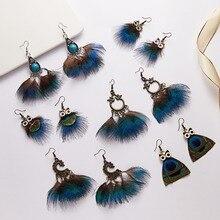Tassel Dangle Long Earrings For Women Owl peacock Leaf feather earrings Jewelry Wedding Earrings Bride Jewelry цена в Москве и Питере