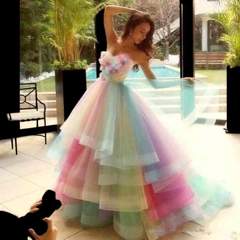 Rainbow Colorful Wedding Dresses 2019 Sweetheart 3d Floral Tiered Ruffles Skirt Princess Outdoor Garden Bridal Wedding Gown Aliexpress