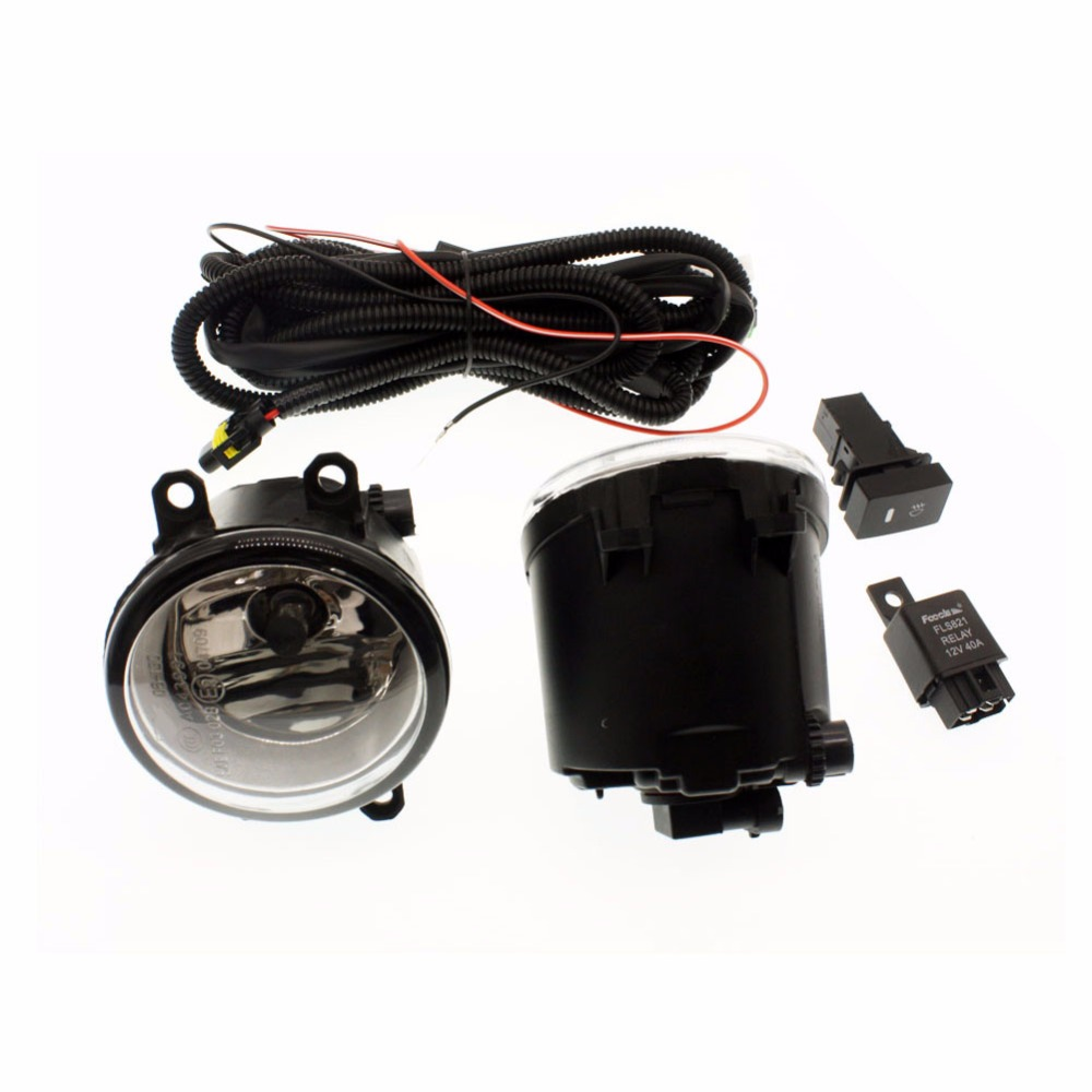 for Toyota URBAN CRUISER 09-15 H11 Wiring Harness Sockets Wire Connector Switch + 2 Fog Lights DRL Front Bumper Halogen Lamp bqlzr dc12 24v black push button switch with connector wire s ot on off fog led light for toyota old style