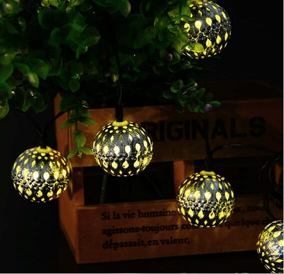 3.3M 10 LED Solar Energy Iron Ball String Light Energy-efficient Automatic Sensor Decoration Lamp Bulb For Garden Wedding Party