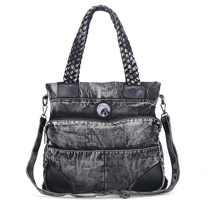 Denim women handbag large totes female wide shoulder strap messenger bag ladies crossbody top-handle bags cropped wide sleeve top