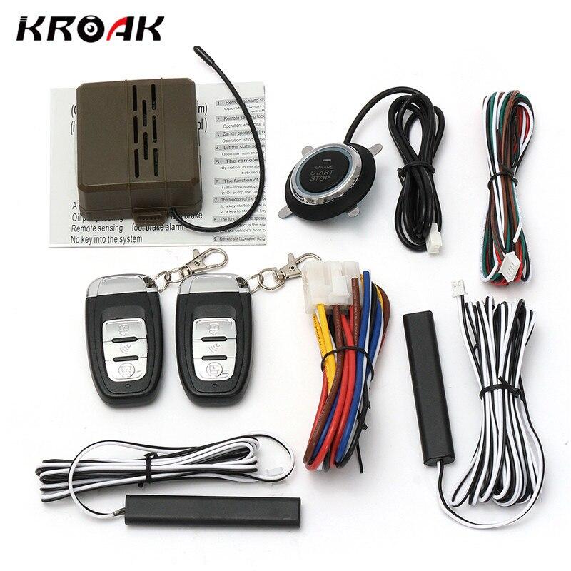 Kroak Voiture Smart E Modèle Télécommande Alarme De Voiture Système de Démarrage Sans Clé Entree Push Bouton Start Stop Système De Voiture Accessoire