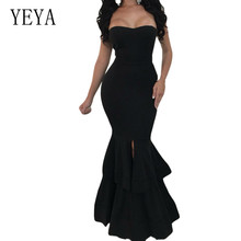 YEYA Elegant Strapless Mermaid Dresses Sexy Off Shoulder Hollow Out Bodycon Floor-length Dress Summer Lady Night Club
