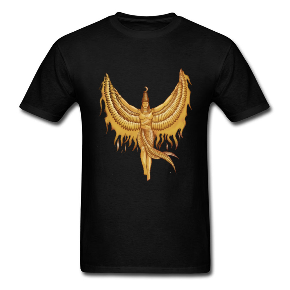 2018 Isis Goddess Egypt With Wings Of Phoenix Men Cool Black T Shirt Shop Top Quality Cotton Tee Shirts Cartoon T-shirt