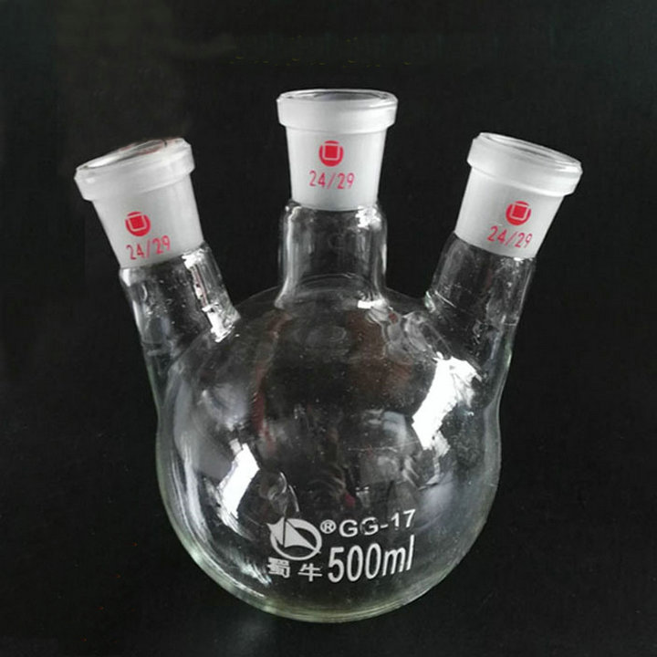 500ml Round Bottom 3-neck Glass Boiling flask with OBLIGUE NECKS, the bevel Flask with three mouths for Lab Glassware 3000ml 14 3 joint 3 neck round bottom obligue necks flask lab glassware