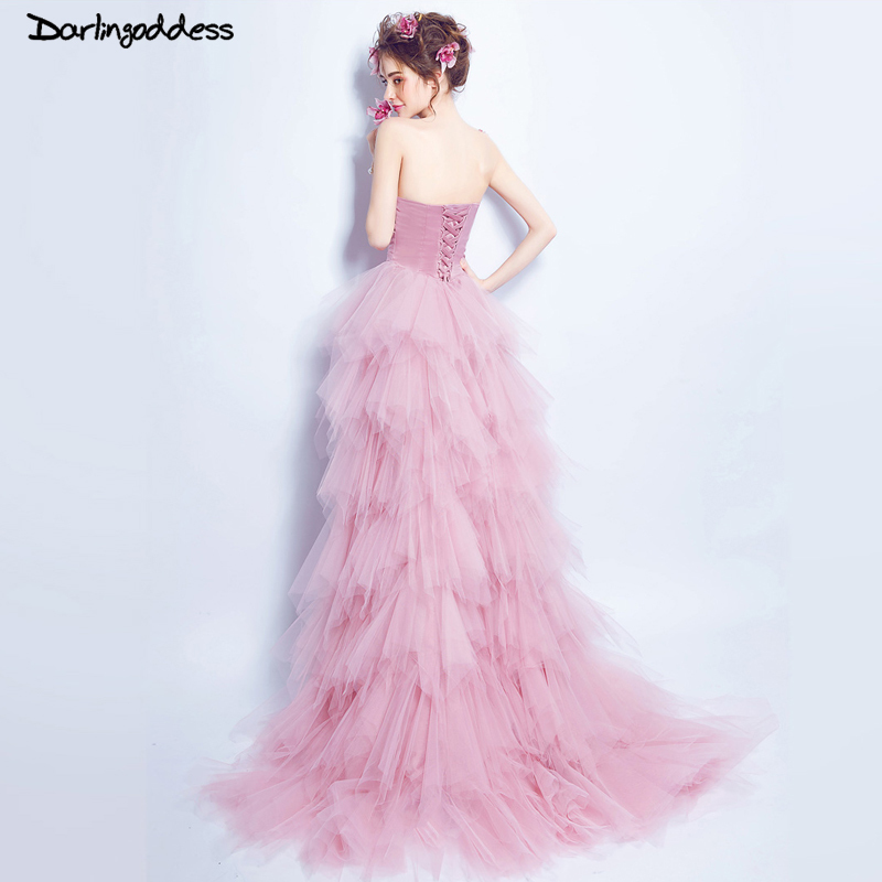 Pink Tulle Wedding Gown: Elegant Short Front Long Back Wedding Dress Sexy Strapless