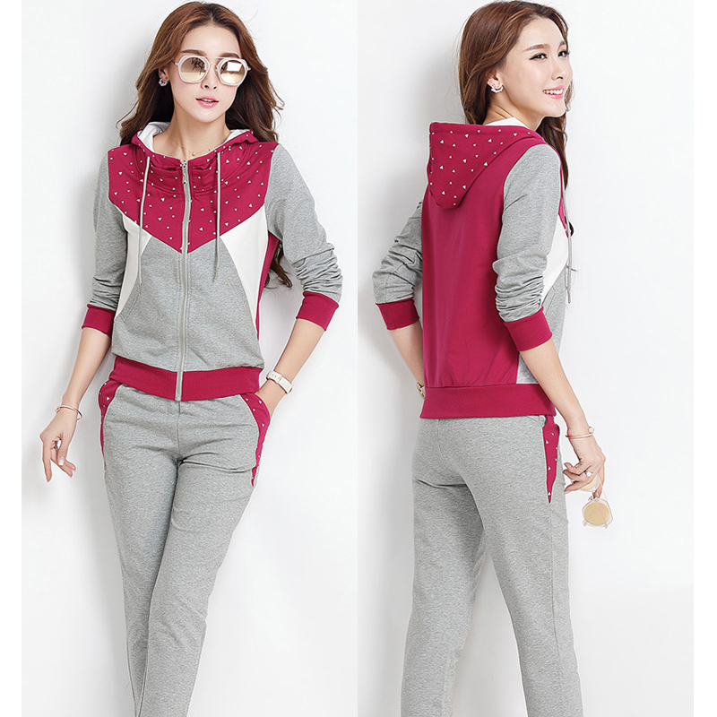 Spring and Autumn sportswear new women Korean version of the running set students fashion sweater sportswear two-piece sets of point systems migration policy and international students flow
