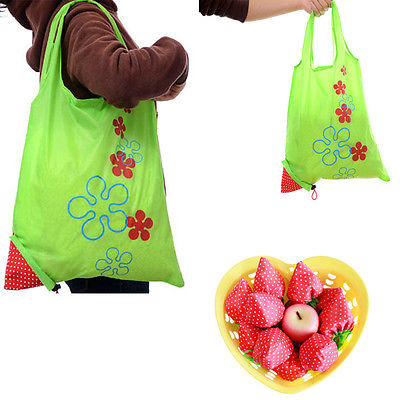 Floral Folding Reusable Grocery Nylon Bag Large Strawberry  Shopping Bag Cute Travel Tote стоимость