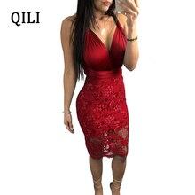 QILI Sexy V-Neck Lace Dress Women Sleeveless Backless Cross Bandage Dresses Party Club White Black Wind-Red Plus Size XXXL